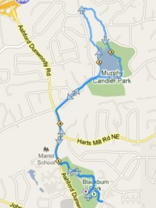 Nancy Creek and Murphy Candler Park Trail Map